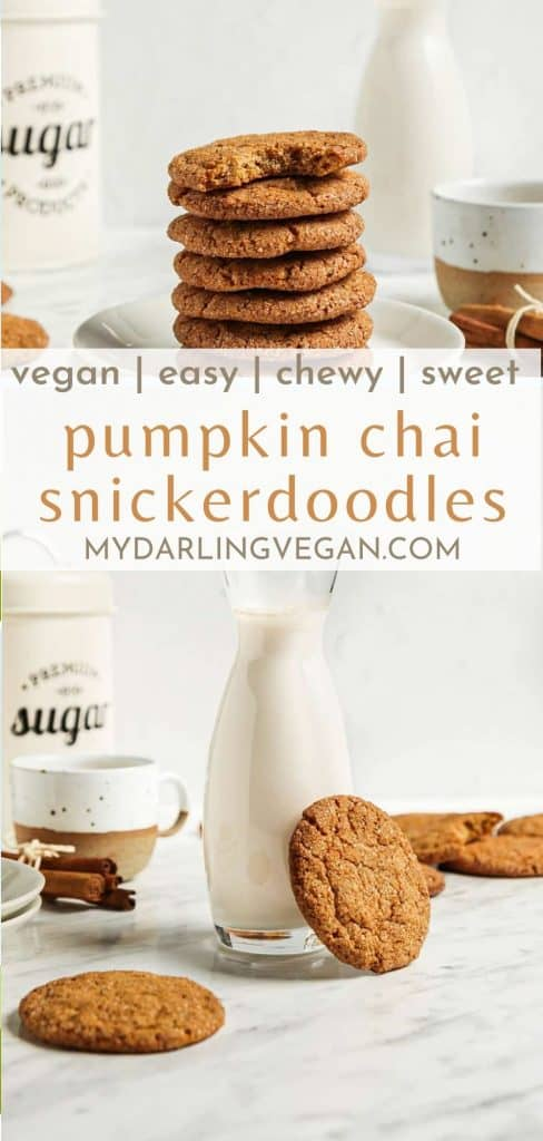 two photos of pumpkin snickerdoodles with milk and text in the center