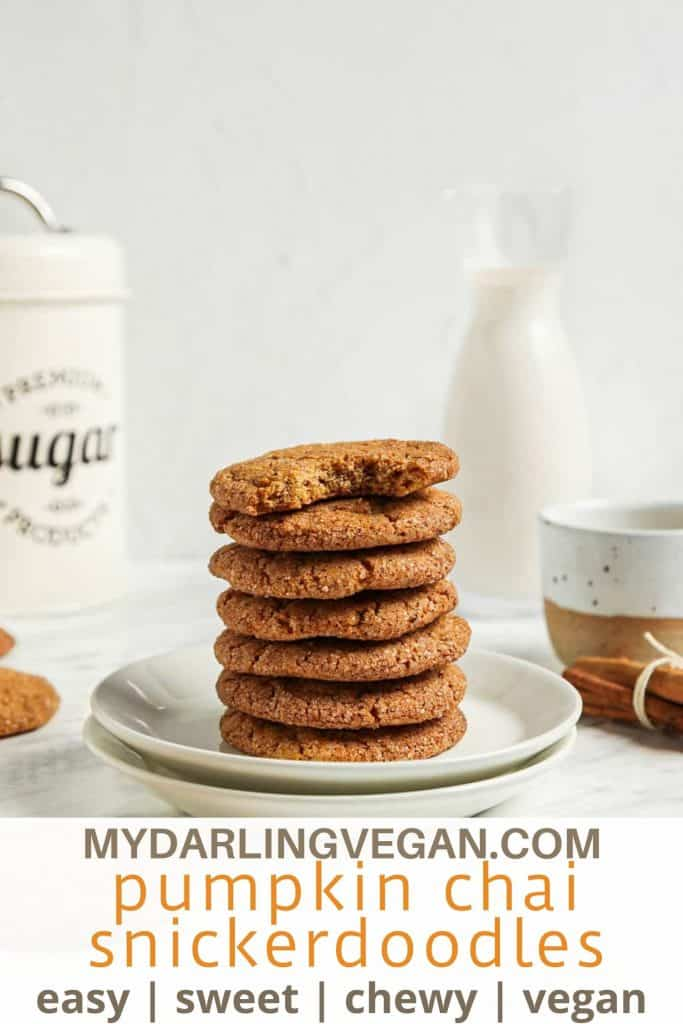 one stack of pumpkin snickerdoodle cookies with text underneath