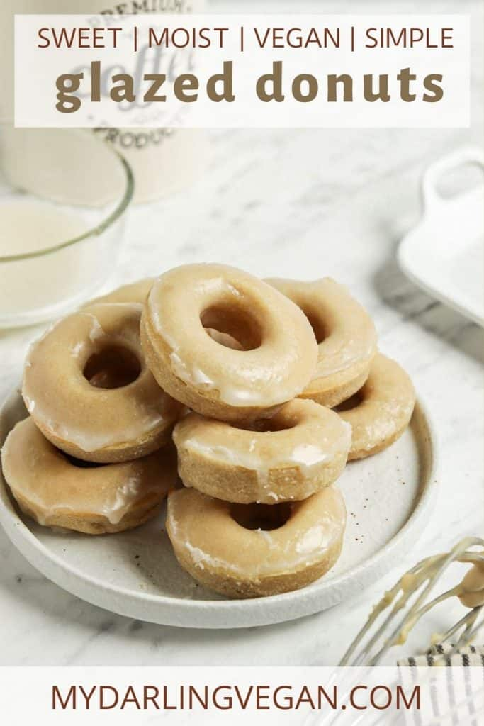 vegan glazed donuts recipe on white plate with font for Pinterest