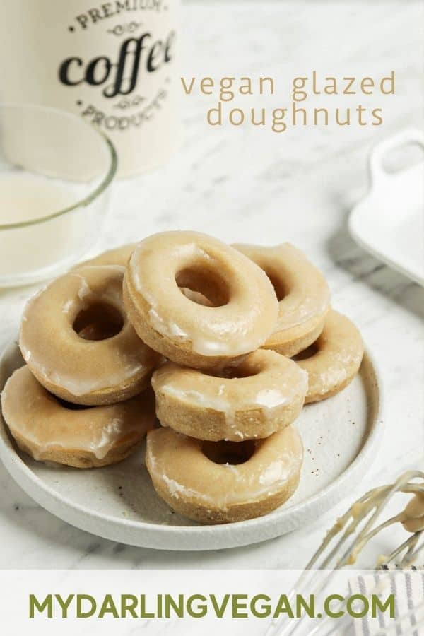 Pinterest graphic of vegan glazed donuts on white plate