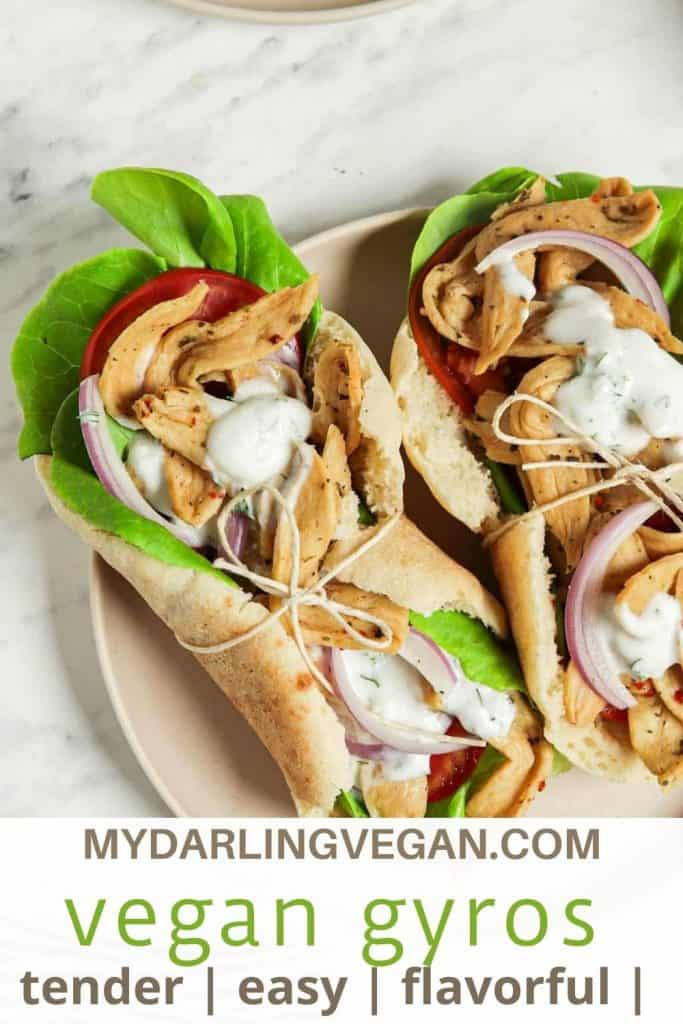 Pinterest graphic for vegan gyros with tzatziki sauce with lettuce with tomatoes and onions