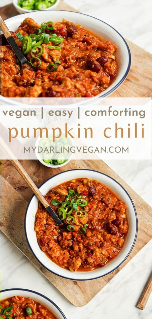 two images of vegan pumpkin chili in white bowl with pumpkin chili text