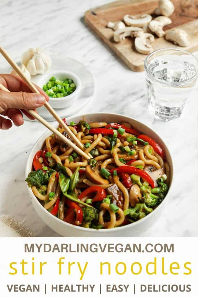 vegan yaki udon in bowl