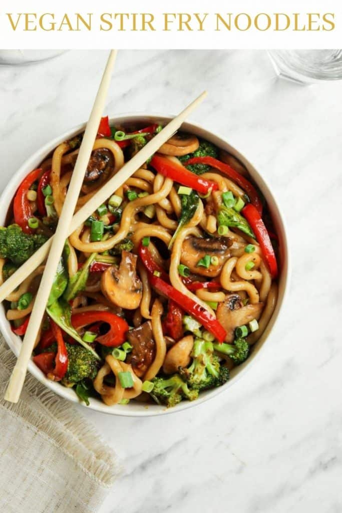 vegan stir fry noodles in bowl