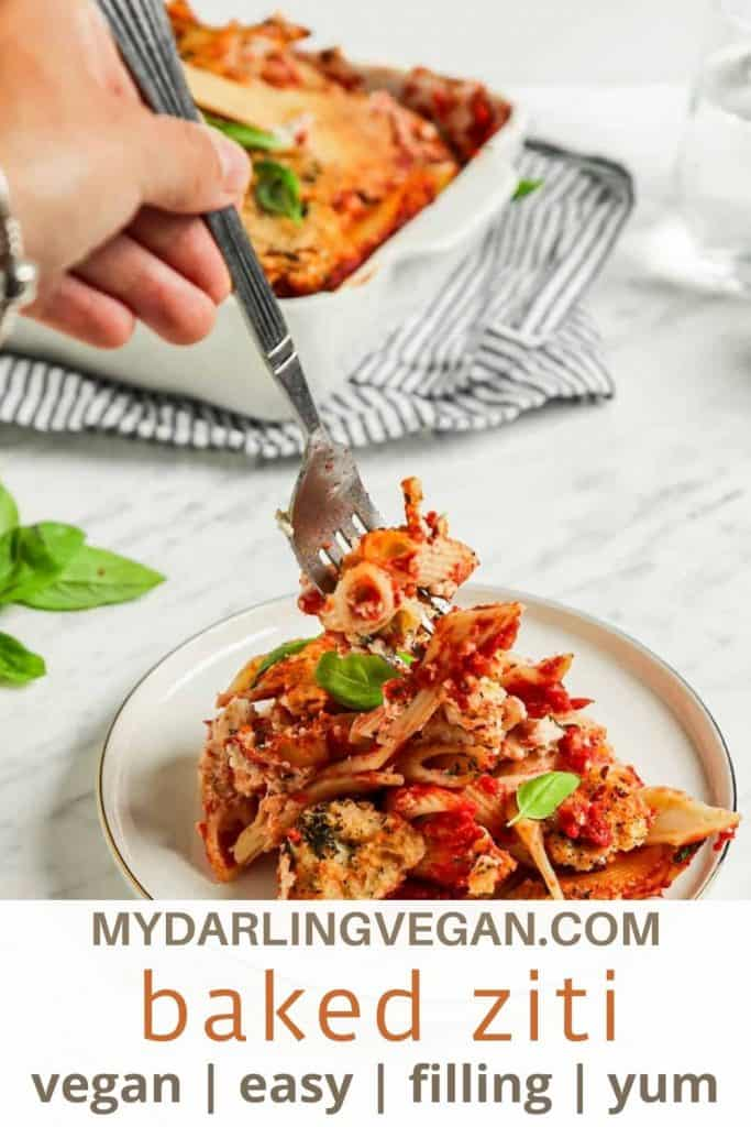"""one plate of vegan baked ziti with fork and fresh basil with """"baked ziti"""" text for Pinterest"""