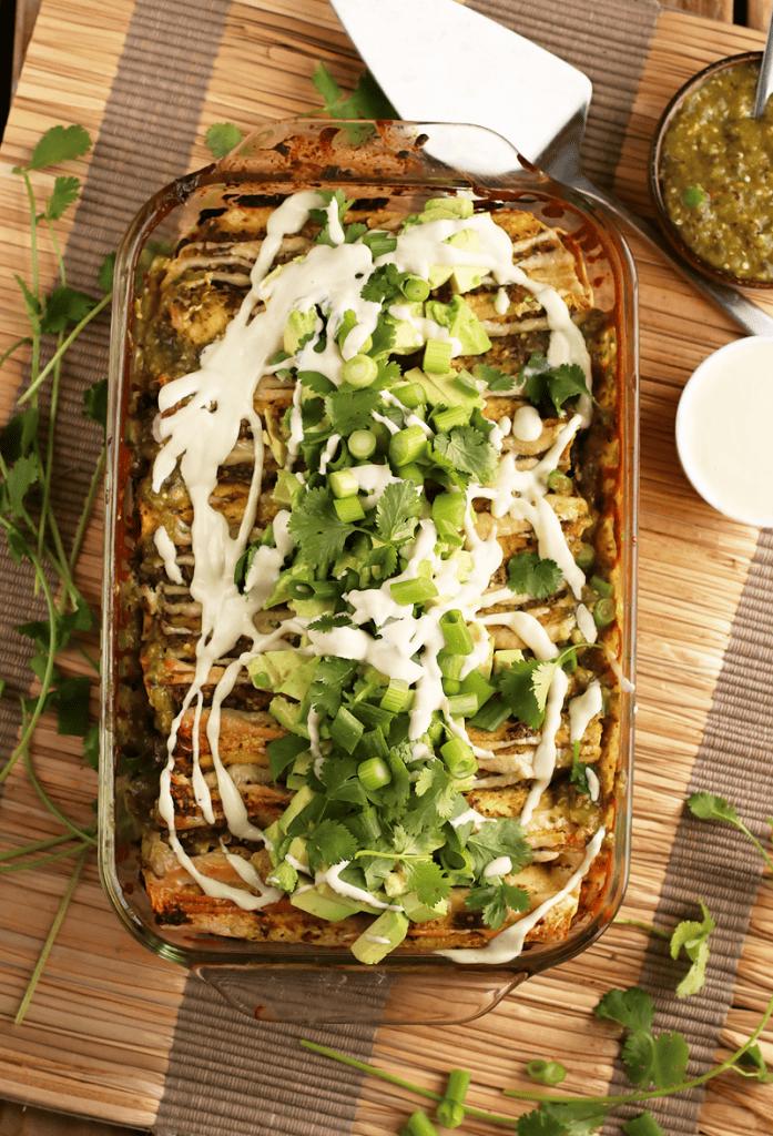 Vegan Enchiladas Verde with avocado and cilantro