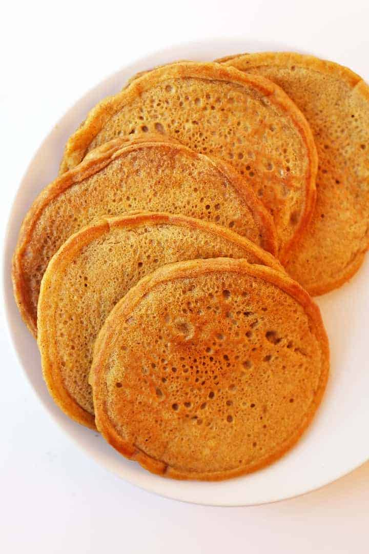Plate of vegan Pumpkin Pancakes