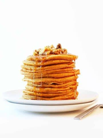 Stack of finished recipe on a white plate