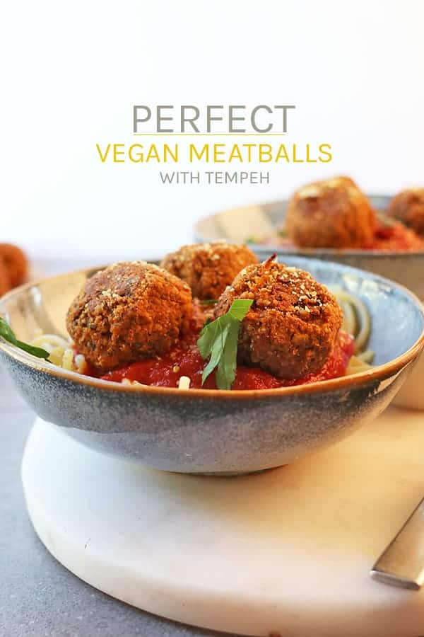 These perfectly seasoned vegan meatballs are made with tempeh, herbs, and spices to complete the best plant-based appetizers, sandwiches, or pasta dishes.  #mydarlingvegan #tempeh #vegan #veganmeatballs #appetizers #pasta #recipes #fallrecipes