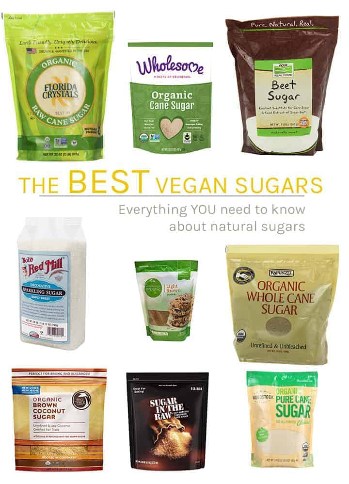 A variety of vegan sugar options.