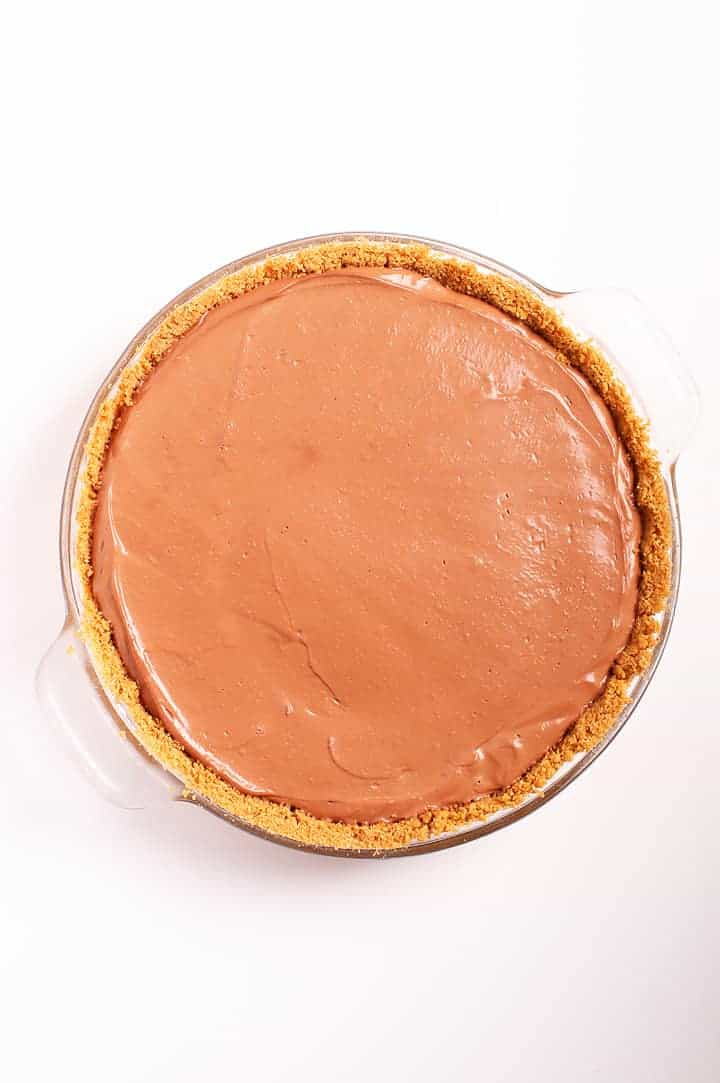 Chocolate cream pie in a pie pan