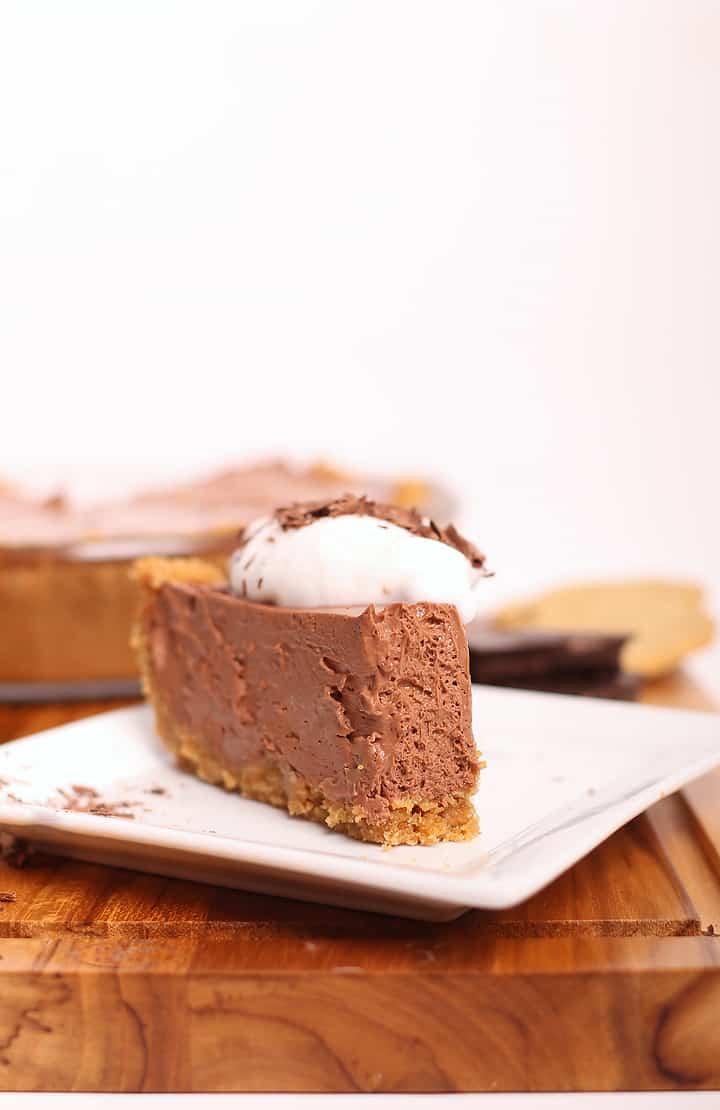 Slice of vegan chocolate pie on a white plate