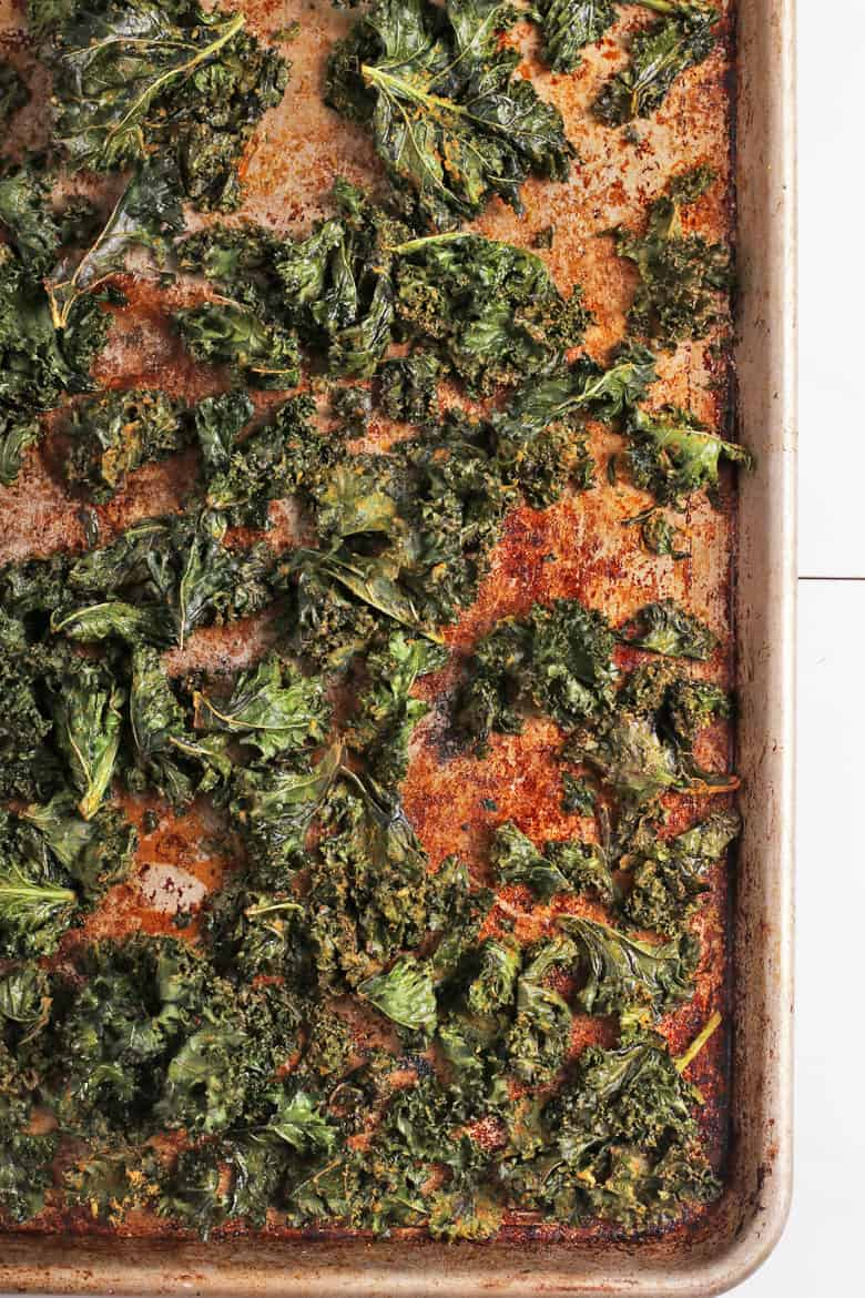 Cooked kale on a baking sheet