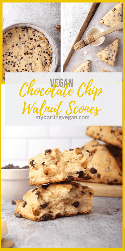 Vegan chocolate chip scones are vegan-friendly take on scones that are easy to make and delicious. They are the perfect morning breakfast or mid afternoon snack. Flaky, buttery, and delicious!