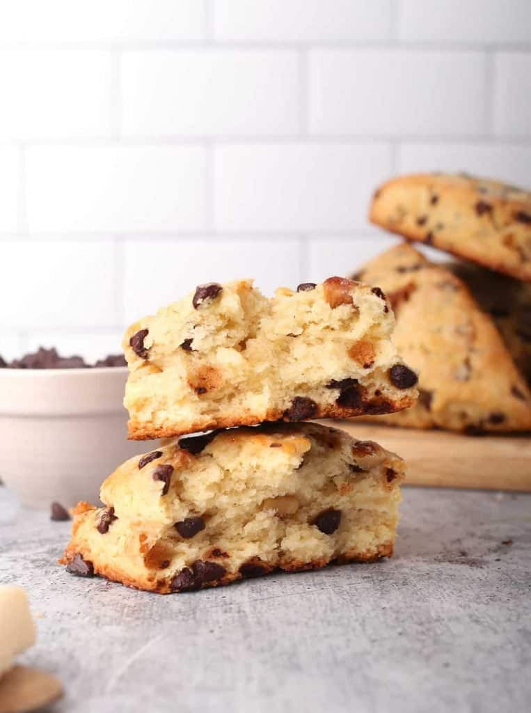 Vegan chocolate chip scone cut in half