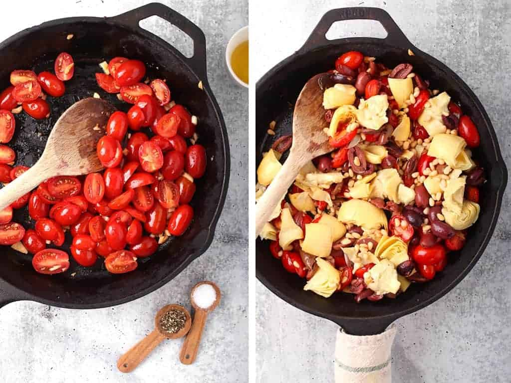 Halved cherry tomatoes sautéed in a cast iron skillet