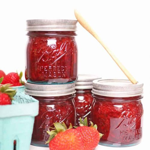 Homemade strawberry jam in Ball jars