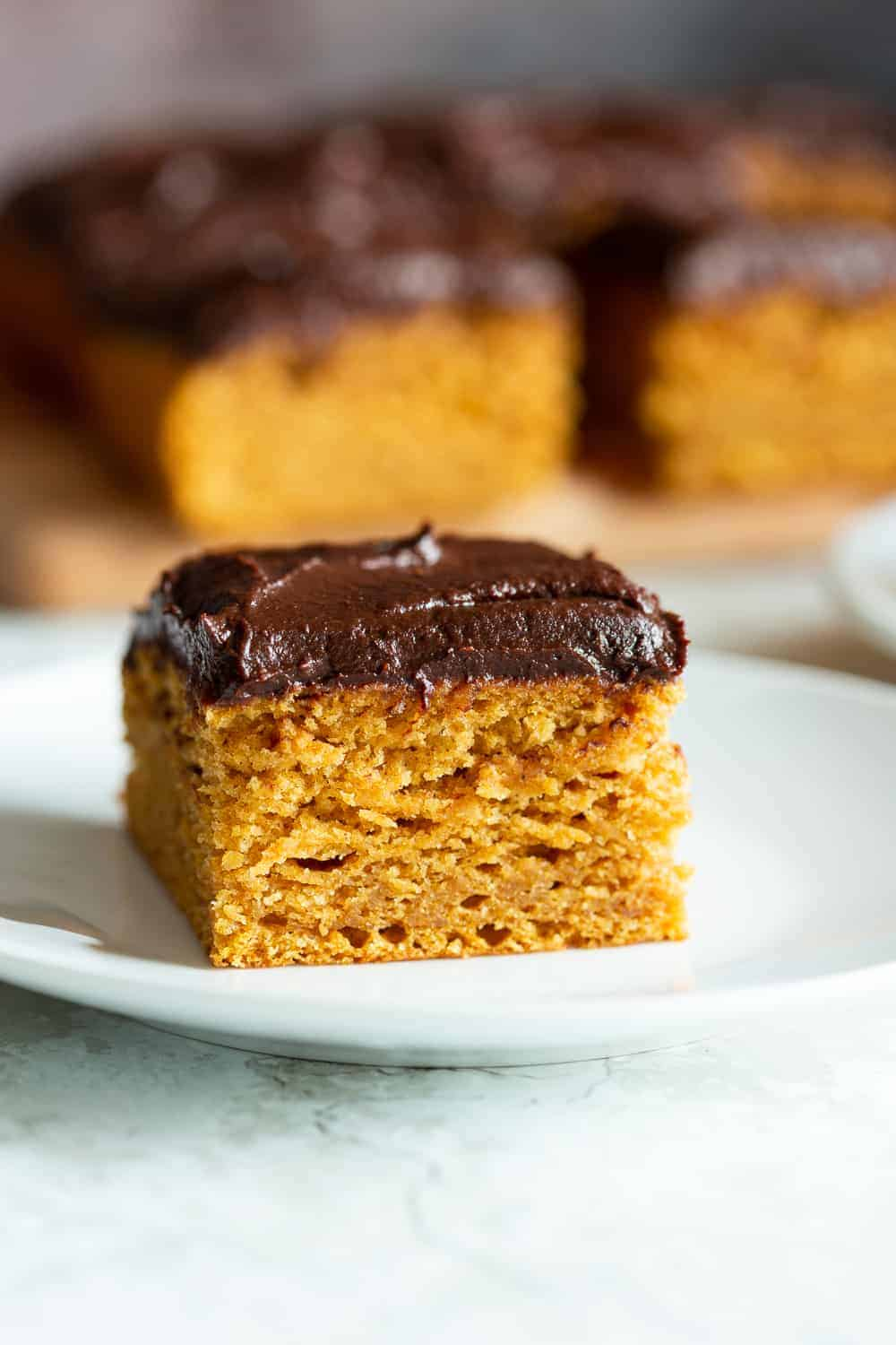 Pumpkin sheet cake with chocolate ganache