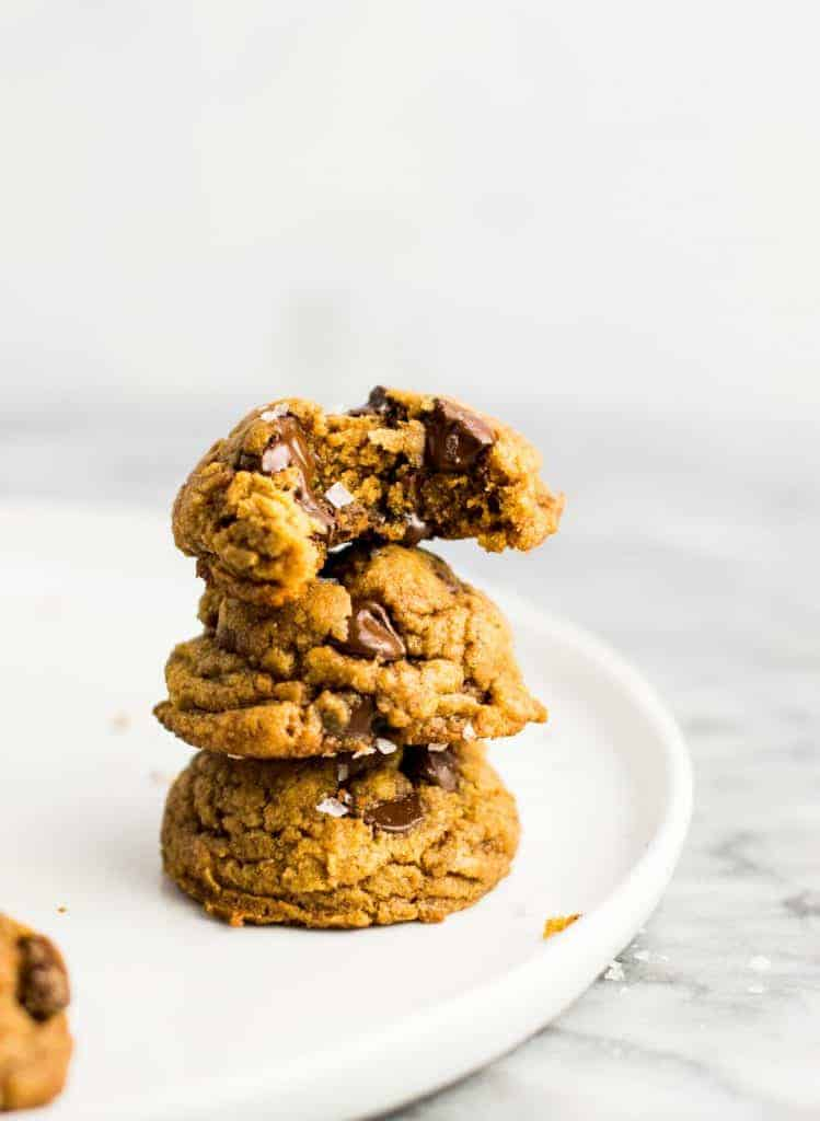 Stack of chocolate chip pumpkin cookies