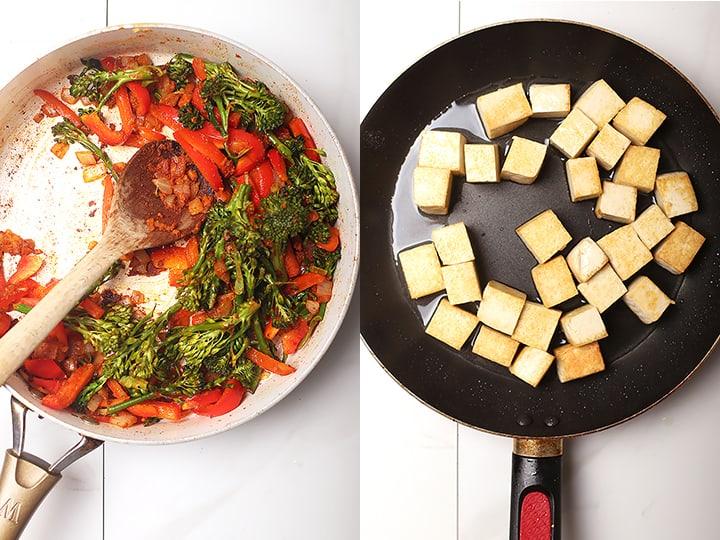 Sautéd pepper and broccoli and fried tofu