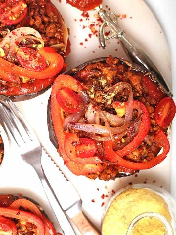 Portobello pizza with sautéed onions and peppers