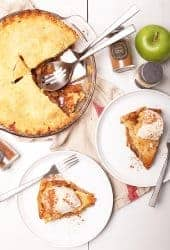 Two slices of apple pie on white plates