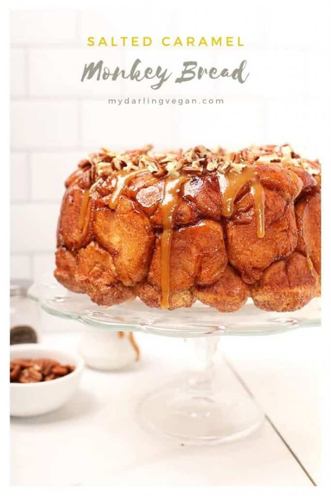 This Vegan Monkey Bread with Caramel Pecan Drizzle is the meal worth waking up for. It's made of enriched yeasted dough balls and drizzled with coconut caramel sauce and toasted pecans for a decadent vegan brunch.