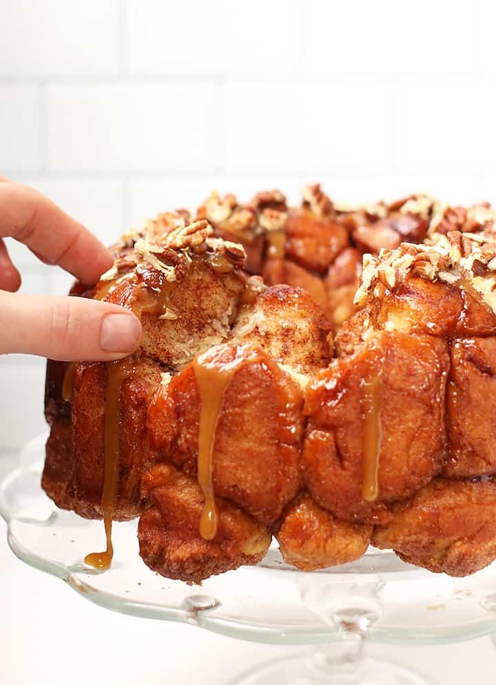 Vegan pull-apart bread on cake stand