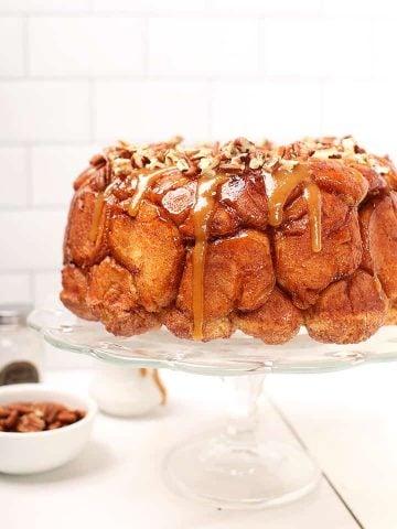 Vegan Monkey Bread on cake stand