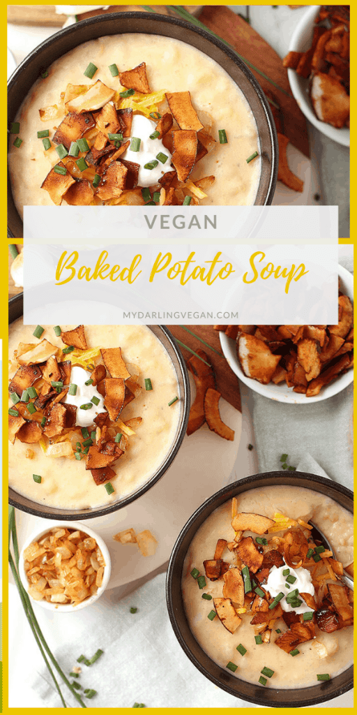 You're going to love this fully loaded vegan Baked Potato Soup. It's a rich and creamy potato soup topped with coconut bacon, vegan cream cheese, caramelized onions, and fresh chives. It doesn't get much cozier than that!