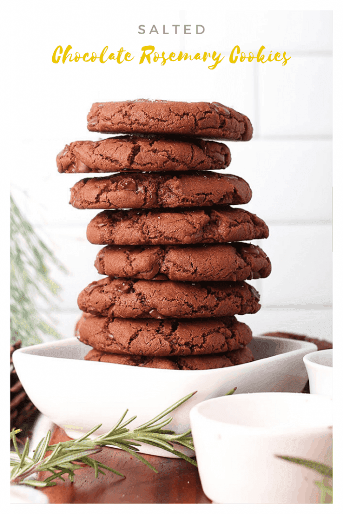 These ultra-fudgy, super chewy, Salted Chocolate Rosemary Cookies are filled with fresh rosemary and chocolate chips in every bite for a deliciously seasonal cookie. Made in under 30 minutes.