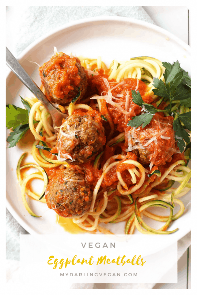 You're going to love these wholesome and flavor-packed vegan eggplant meatballs baked to perfection and served with homemade marinara and zucchini noodles. It's a delicious and low-carb vegan meal the whole family will love.