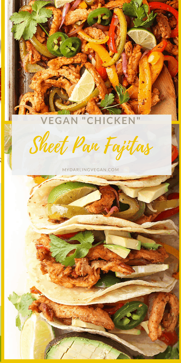 Dinner made easy with these simple sheet pan vegan fajitas. It's a colorful mix of red and green bell peppers, red onions, and perfectly seasoned soy curls for a simple and delicious vegan and gluten-free meal. One pan, under 30 minutes!
