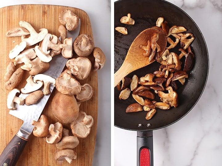 Chopped and sautéed shiitake mushrooms
