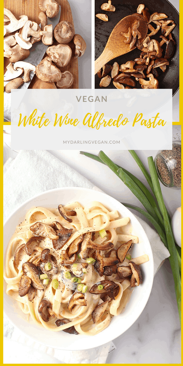 You're going to love this White Wine Vegan Alfredo Pasta. It's a creamy white sauce mixed with Fettucine pasta and sautéed shiitake mushrooms for a delicious and easy weeknight meal.