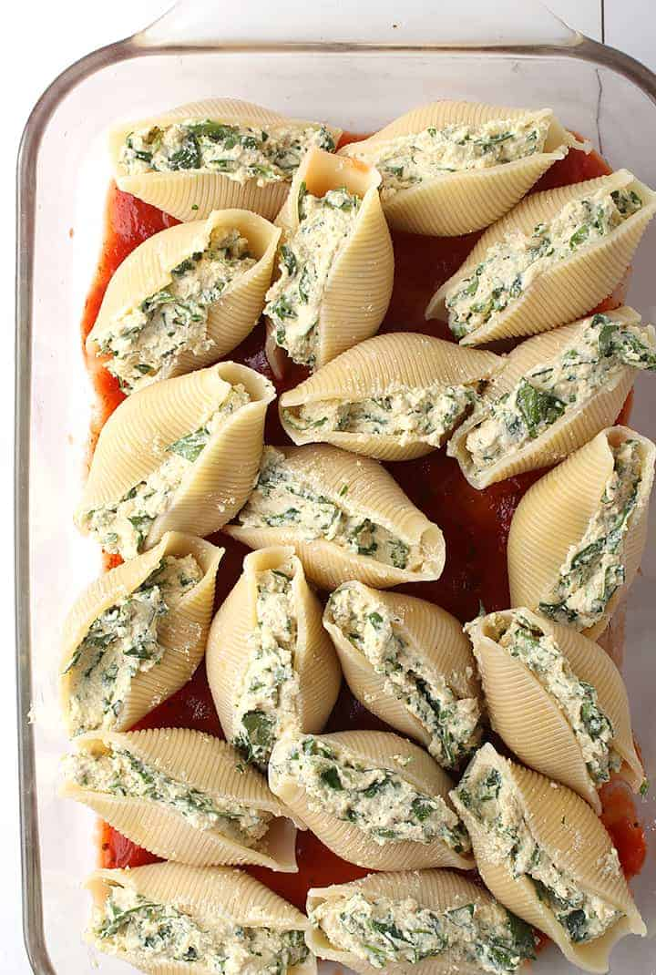 Cashew ricotta stuffed shells in casserole dish