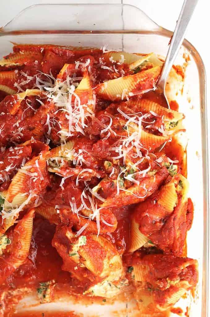Vegan stuffed shells in casserole dish