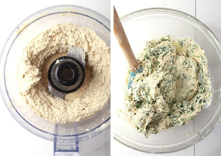 Cashew ricotta with spinach