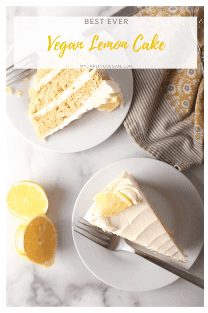 You are going to love this Vegan Lemon Cake with Cream Cheese Frosting. It is unbelievably delicate and moist while bursting in citrusy flavors; a delicious vegan cake that everyone will love.