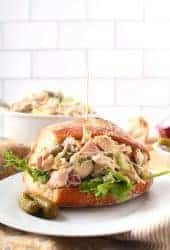 Vegan Chicken Salad Sandwich on white plate