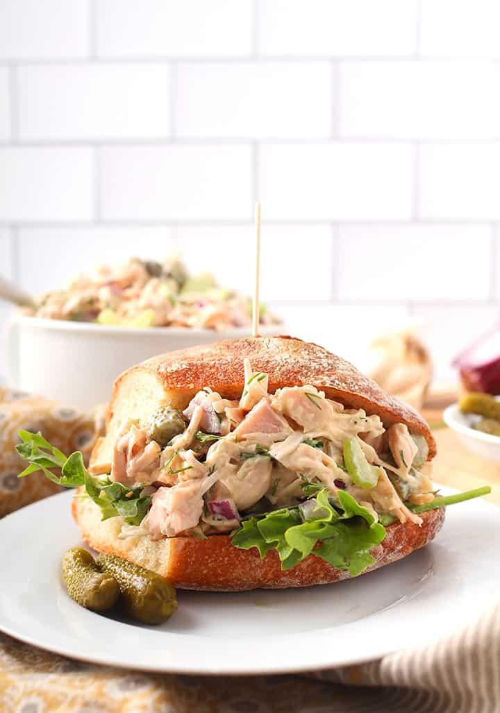 Vegan Chicken Salad Sandwich on white plate