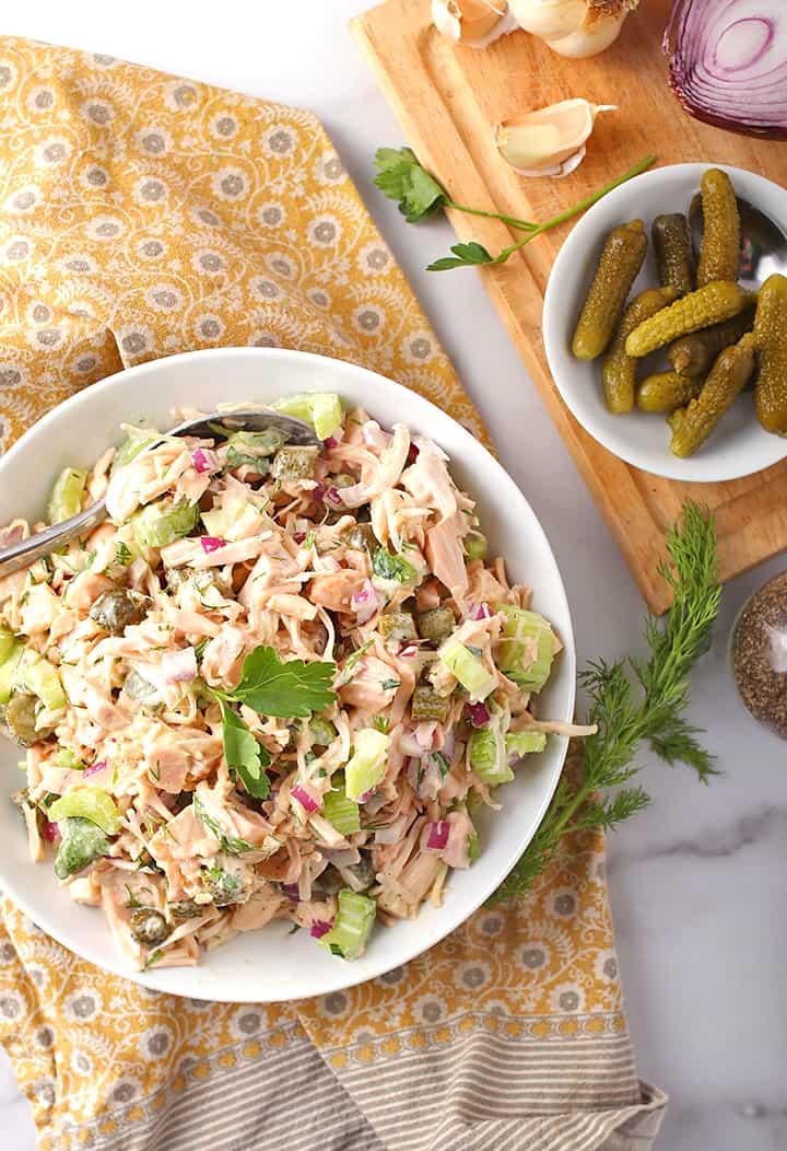 Vegan Chicken Salad in white bowl