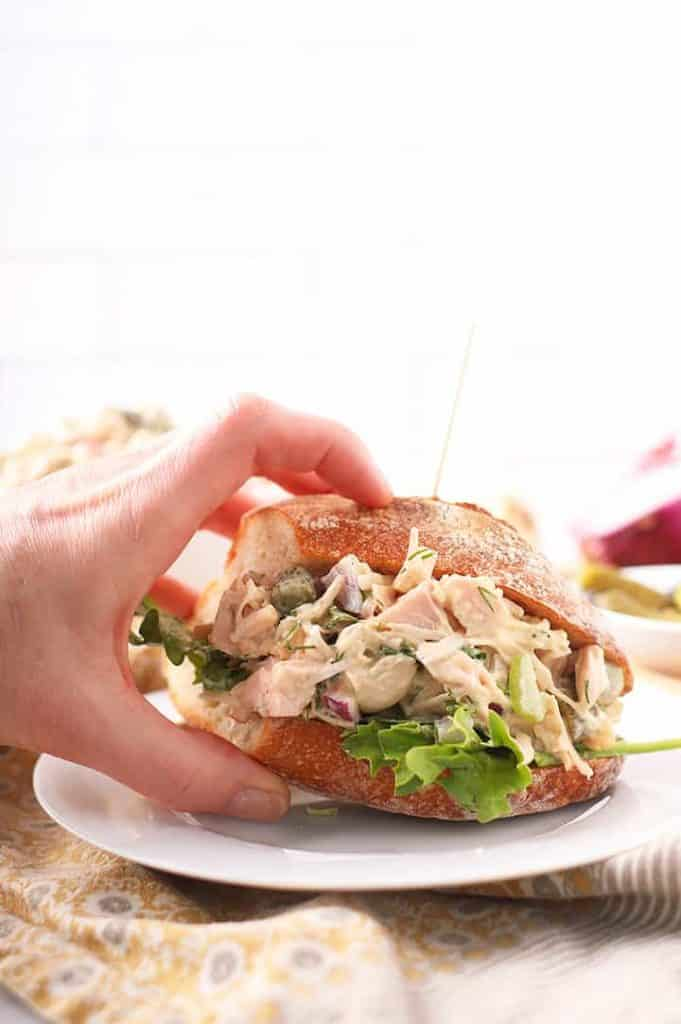 Vegan chicken salad sandwich on baguette