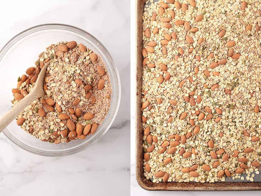 Oats, nuts, and seeds on a baking dish