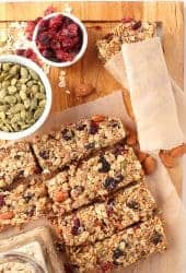 Vegan granola bars on cutting board