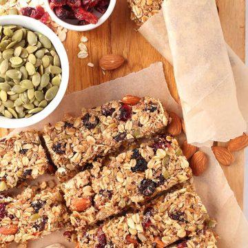 Vegan granola bars on cutting board