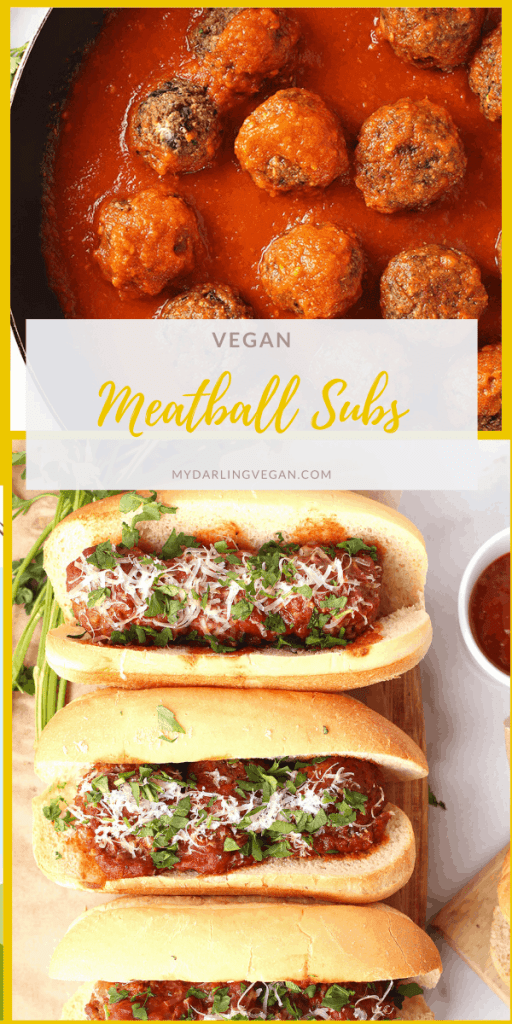 Delicious vegan meatball subs! They are made with homemade eggplant meatballs, marinara sauce, vegan parmesan cheese, and fresh parsley for the ULTIMATE vegan sandwich.