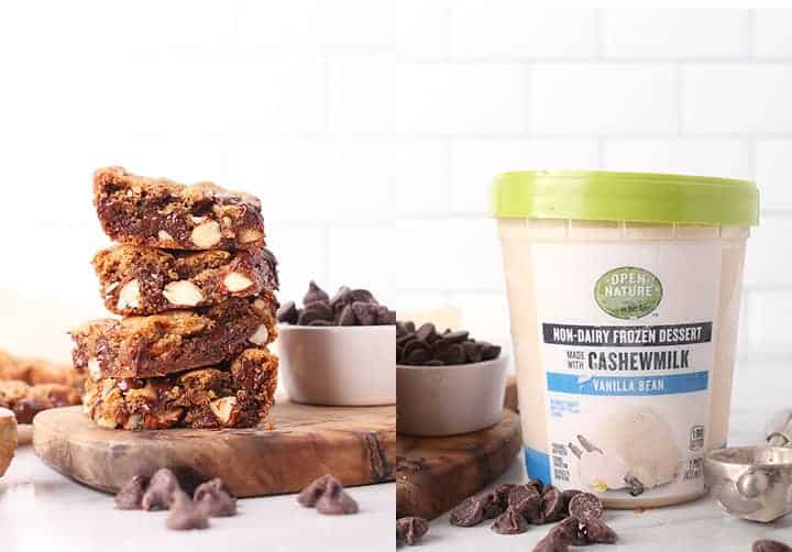 Stack of vegan gluten free bars with ice cream