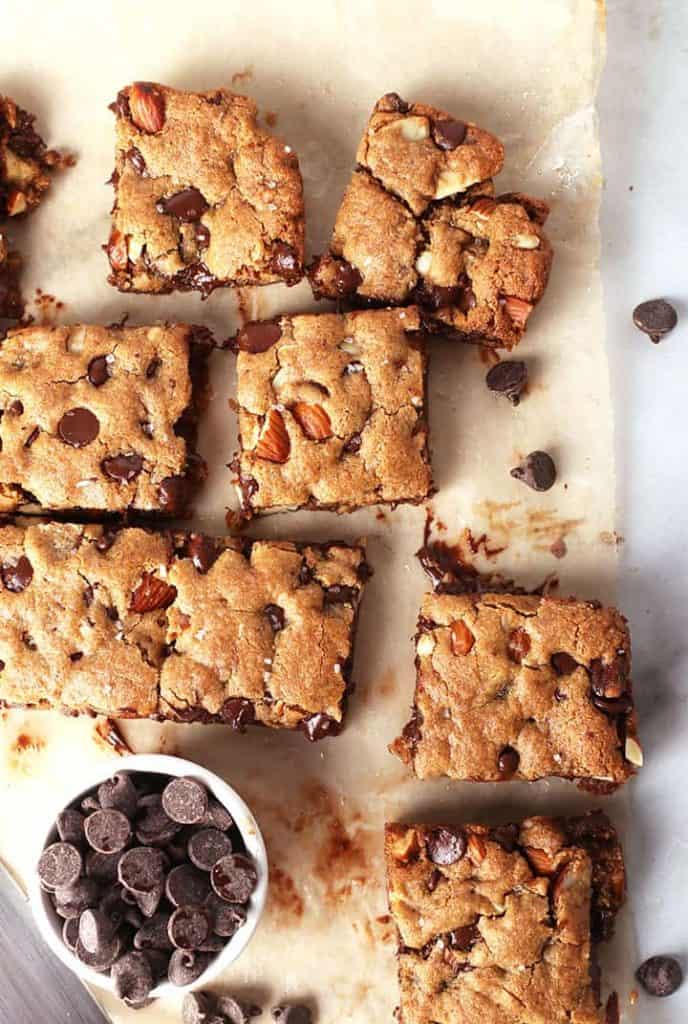 Chocolate Almond Bars on parchment paper