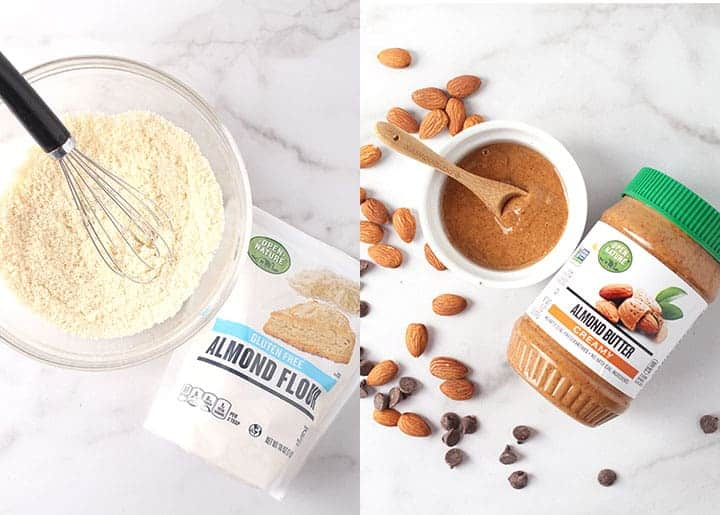 Almond flour and almond butter side-by-side